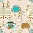 vintage morning tea background, seamless pattern for design