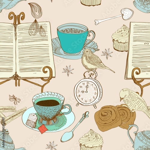 Sticker vintage morning tea background, seamless pattern for design