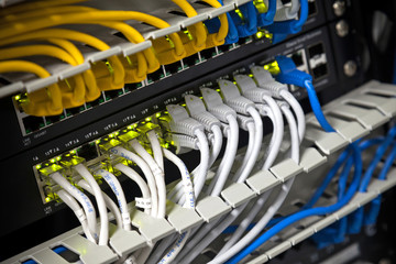 Large network hub and connected Internet cables