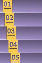 One two three four five golden purple letterpress list