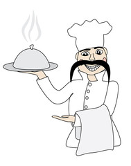 smiling chef holding hot dish vector illustration