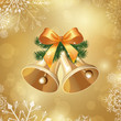 Vector Illustration of a Christmas Background with Two Bells
