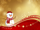 Fototapety Vector Christmas Background with a Small Snowman