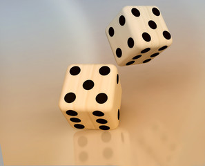 3D  Dice on Reflective Background