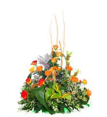 Composizione floreale con rose arancioni