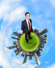 Planet earth against sky background