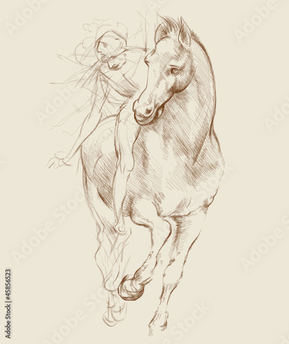 Horse and Rider. Based on drawing of Leonardo da Vinci
