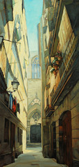 in gothic quarter of barcelona,  illustration, painting by oil o