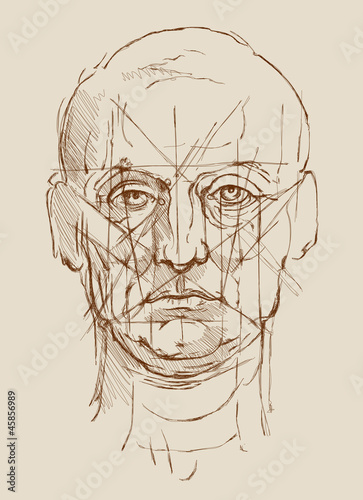 Head Men. Based on drawing of Leonardo da Vinci