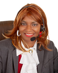 African American Woman Wearing Headset