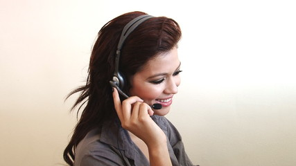 Close up of sexy customer service business woman