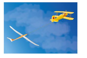 Segelflugzeug im Schlepp