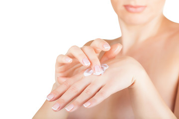 Cream on the women hand