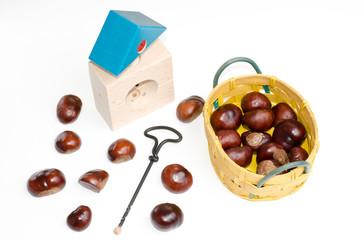 Kastanien mit Bastelutensilien