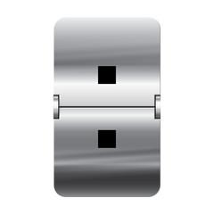 Silver flipboard letter - departure board - colon