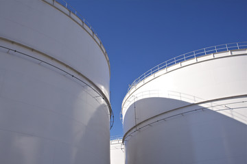 White large oil storage tanks