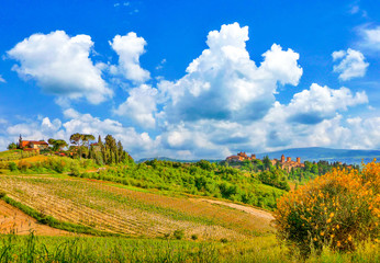 Beautiful landscape with city of San Gimignano in Tuscany, Italy