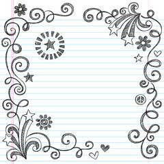 Shooting Stars and Swirls Sketchy Doodles Page Border Vector