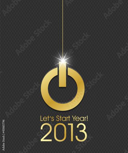 2013 golden power button christmas ball