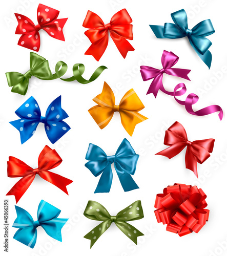 Big set of colorful gift bows with ribbons