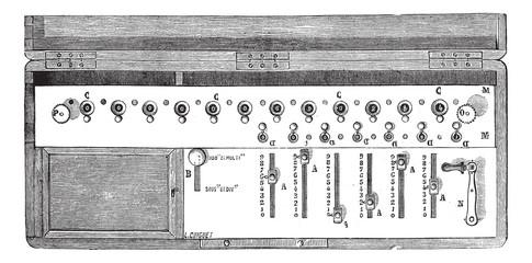 Arithmometer or Arithmometre vintage engraving