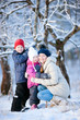Family outdoors on winter day