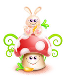 Whimsical Cute Kawaii Cartoon Bunny on Mushroom poster