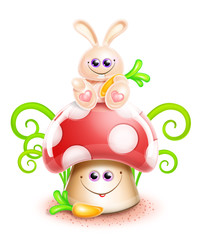 Whimsical Cute Kawaii Cartoon Bunny on Mushroom