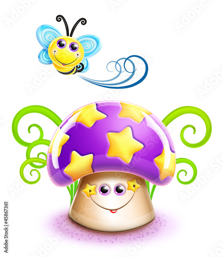 Whimsical Cute Kawaii Cartoon Bee and Mushroom