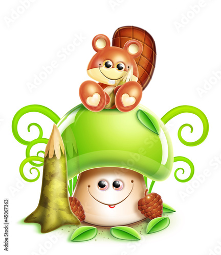 Whimsical Cute Kawaii Cartoon Beaver on Mushroom