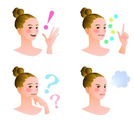 女性の表情4パターン