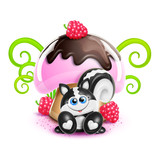 Whimsical Cute Kawaii Cartoon Skunk and Mushroom poster
