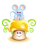 Whimsical Cute Kawaii Cartoon Mouse on Mushroom poster