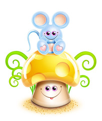 Whimsical Cute Kawaii Cartoon Mouse on Mushroom