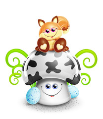 Whimsical Cute Kawaii Cartoon Fox on Mushroom