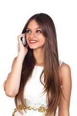Young pretty woman using mobile phone