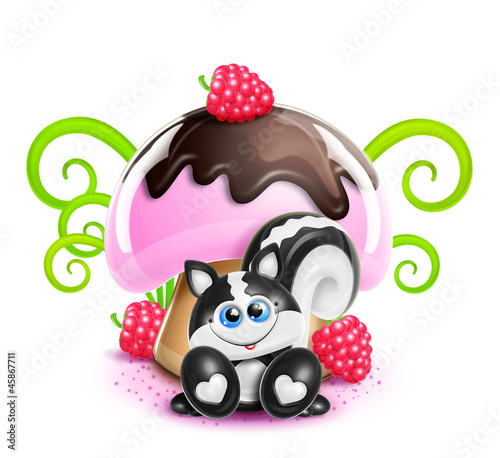Whimsical Cute Kawaii Cartoon Skunk and Mushroom
