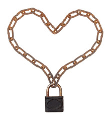 Heart of a metal chain on the lock