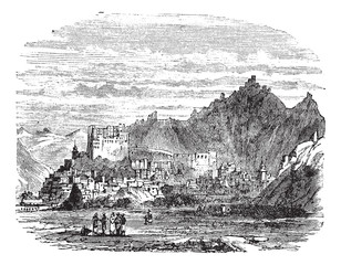 Leh Palace, in the town of Leh, Tibet, China, vintage engraving.