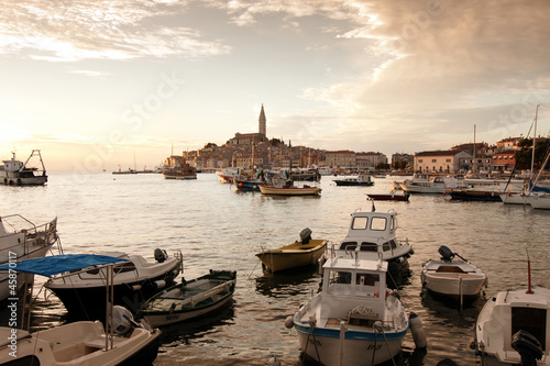 the old town Rovinj at sunset