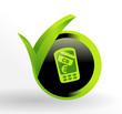 icône paiemment par téléphone sur bouton web vert et noir