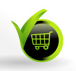 icône chariot sur bouton web vert et noir