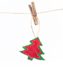 Christmas tree hanging on a rope