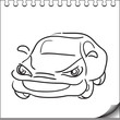 Car character sketch on white notebook page