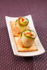 canape with cucumber