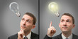 Businessman thinking concept with a light bulb