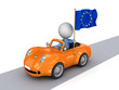 Small car with European Union flag.