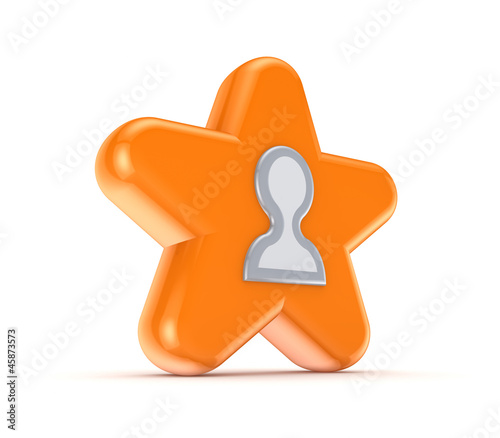 Orange star with a white contacts icon.
