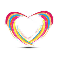 abstract rainbow heart design