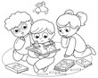 Coloring illustration of friends reading a pop-up book together.